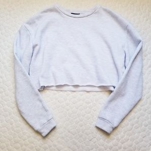 Topshop cropped sweatshirt light grey soft 6 small